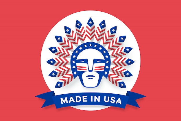 Icon of american man with indian chief feathers on the head Premium Vector