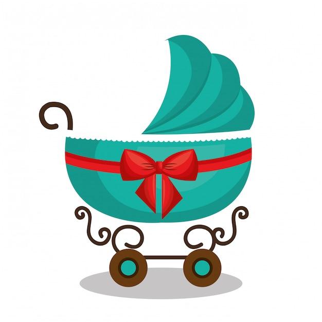 Icon baby carriage green design Premium Vector
