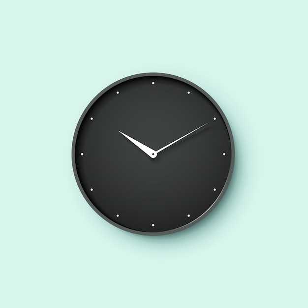 Icon of black clock face with shadow on mint wall background Premium Vector