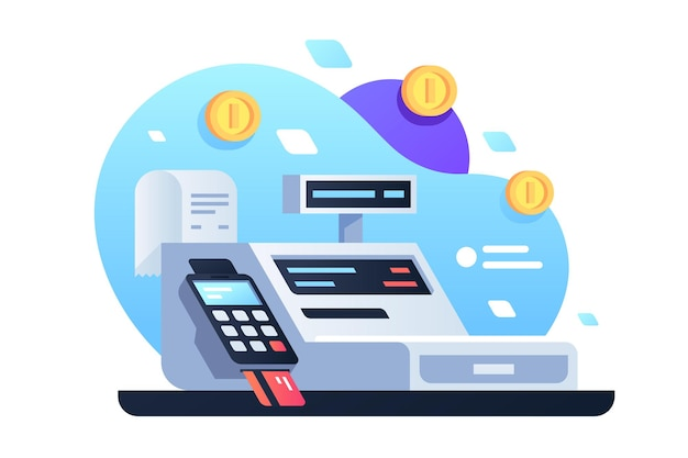 Icon of cash machine for cashier employee in store. isolated concept modern device using electronic