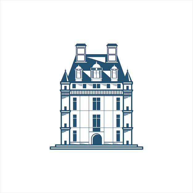 Icon of a castle building Premium Vector