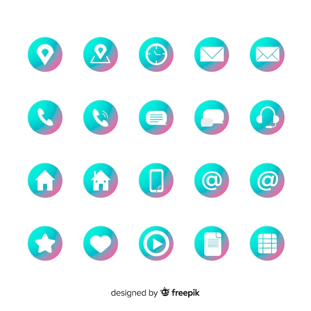 Icon collection for business card Free Vector