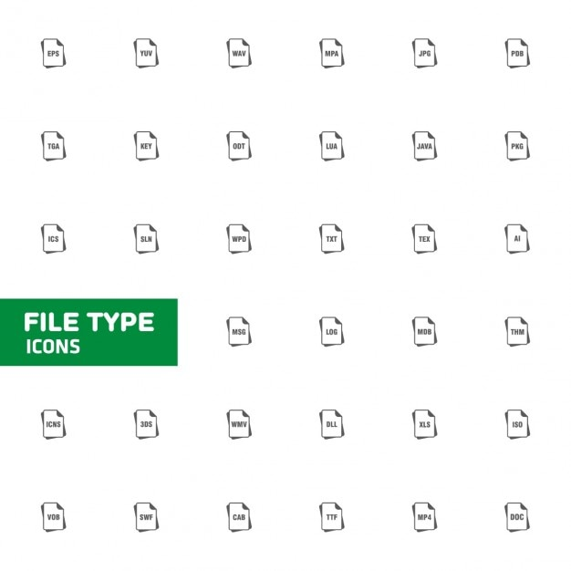 Icon collection of file types Free Vector