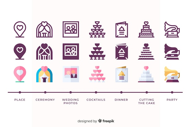 Icon collection for wedding event Free Vector