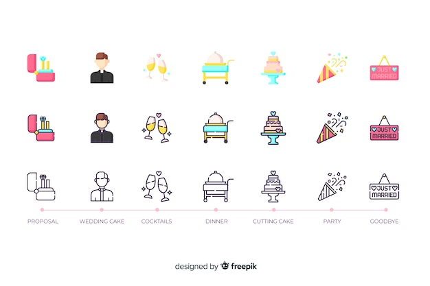 Icon collection for wedding in flat-design Free Vector