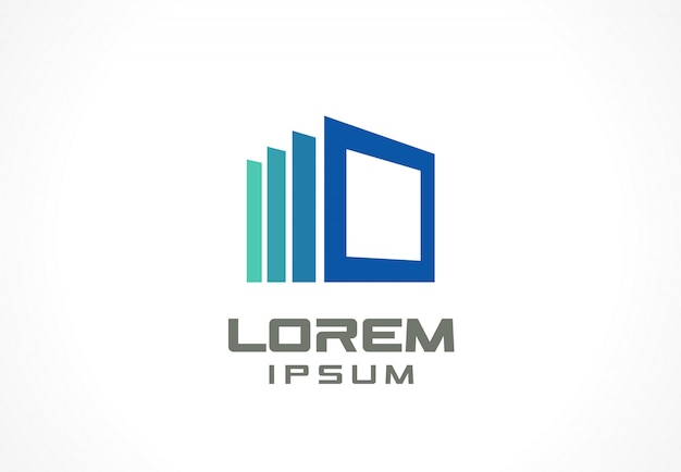 Icon  element. abstract logo idea for business company. construction, house, frame, windows, technology, internet concepts.  pictogram for corporate identity template. stock illustration Premium Vector