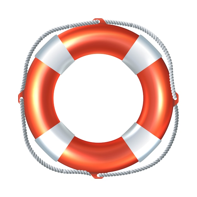 Icon illustration of striped life raft. isolated on white background. Premium Vector