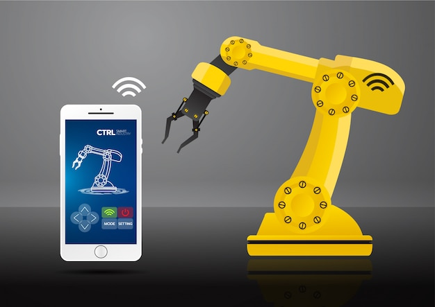 Icon of industry 4.0 concept Premium Vector