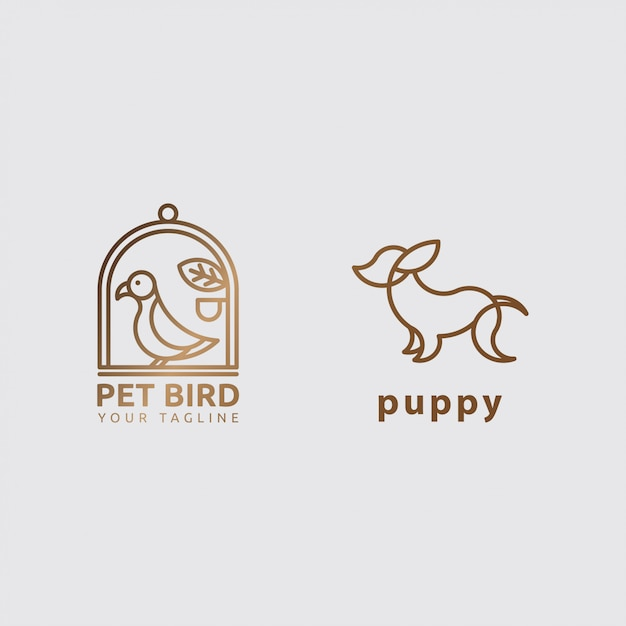 Icon logo animal concept with line art Premium Vector