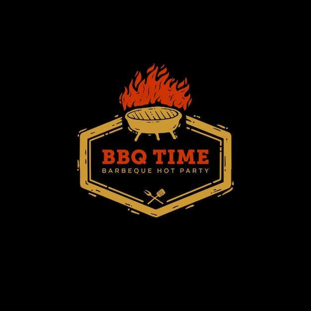 Icon logo barbeque party time Premium Vector