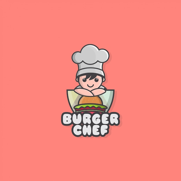 Icon logo of little chef and hamburger Premium Vector