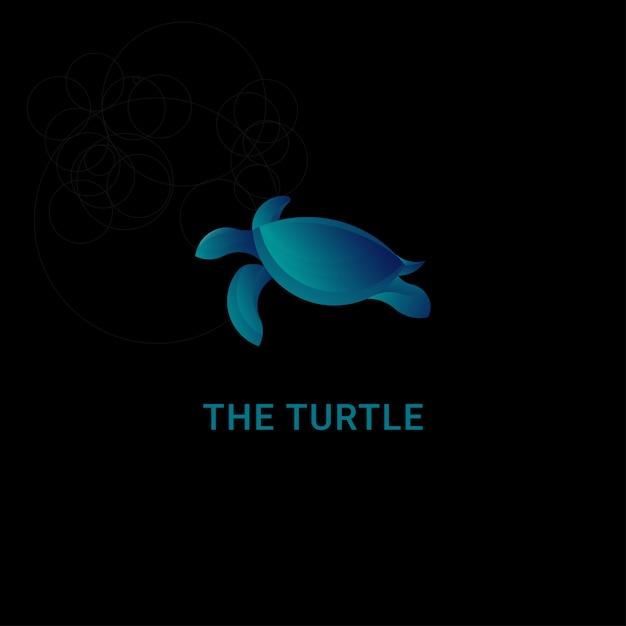 Icon logo turtle with golden ratio concept Premium Vector