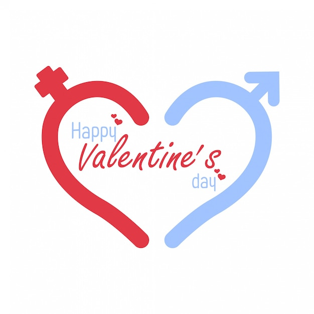 Icon male and female sign. vector heart symbol. valentine day Premium Vector