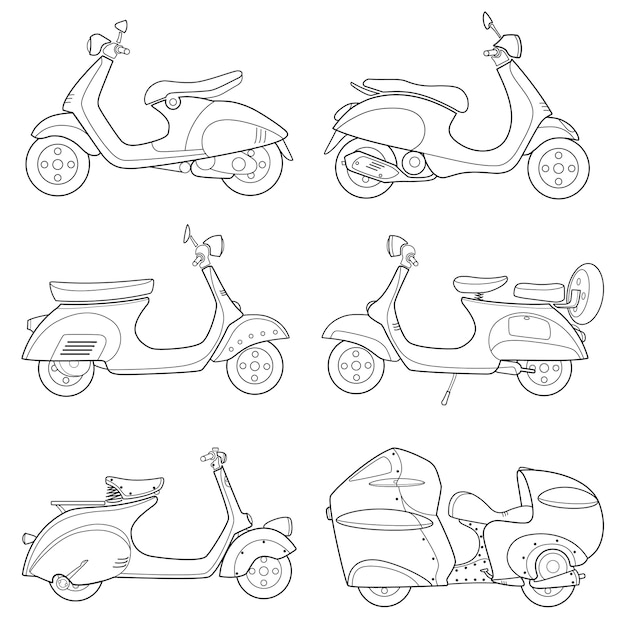 Icon of motor bike scooter drawing line Premium Vector