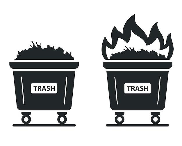 ゴミが燃えるコンテナのアイコン。火を使い捨てる。フラットの図。 Premiumベクター