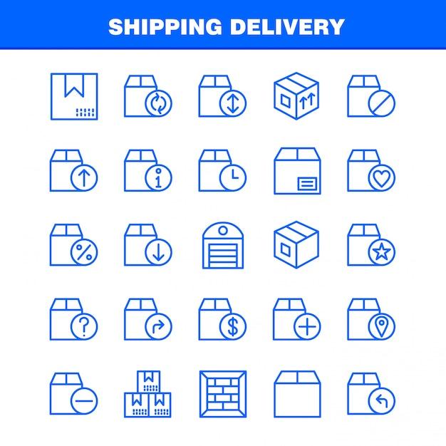 Доставка линия доставки icon pack Бесплатные векторы