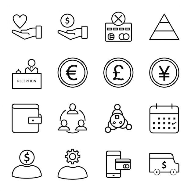Icon set of banking Premium Vector