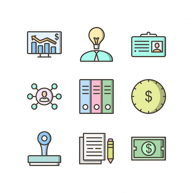 Icon set of business Premium Vector