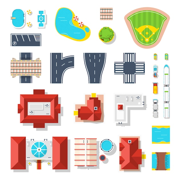 Icon set of city elements Free Vector