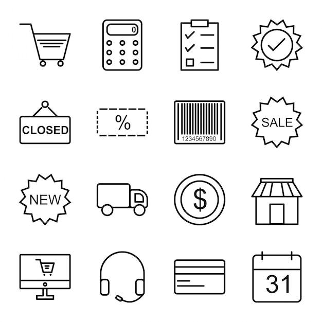 Icon set of e-commerce Premium Vector