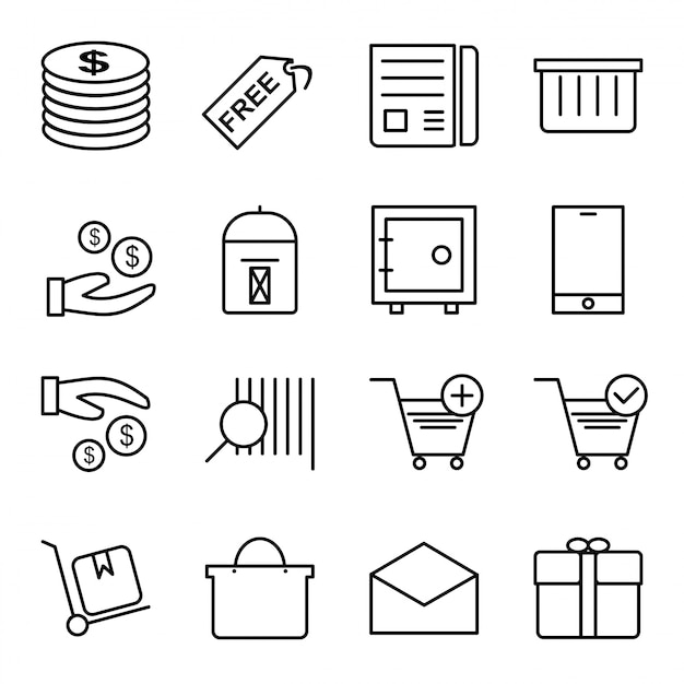 Icon set of e-commerce Premium Vector