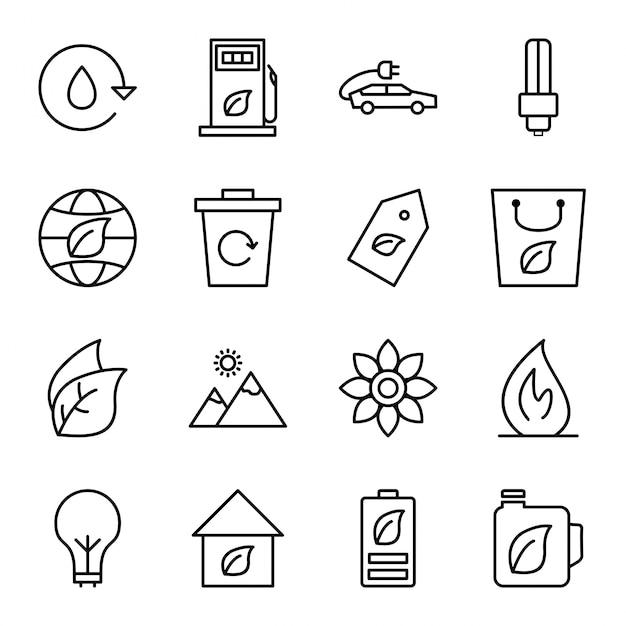 Icon set of ecology Premium Vector