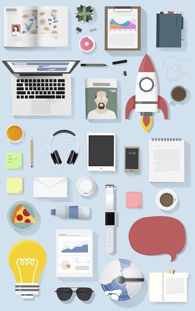 Icon set equipment lifestyle vector icon illustration Free Vector
