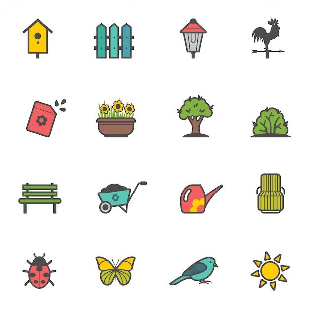 Icon set of garden tools and accessories Premium Vector
