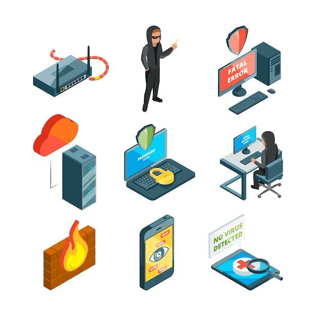 Icon set of internet security Premium Vector