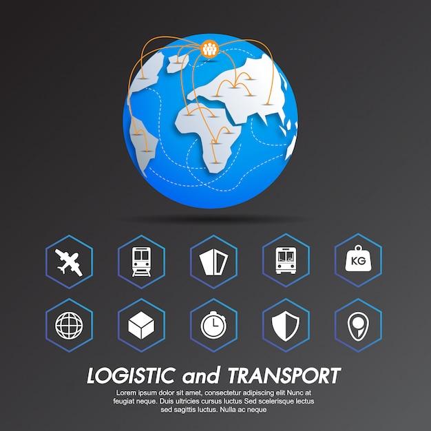 Icon set logistic and transport Premium Vector