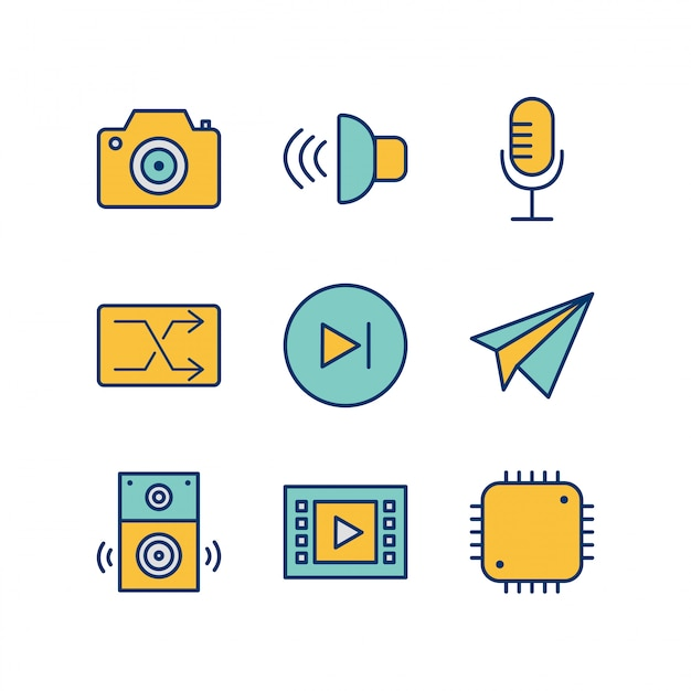 Icon set of multimedia for personal and commmercial use... Premium Vector