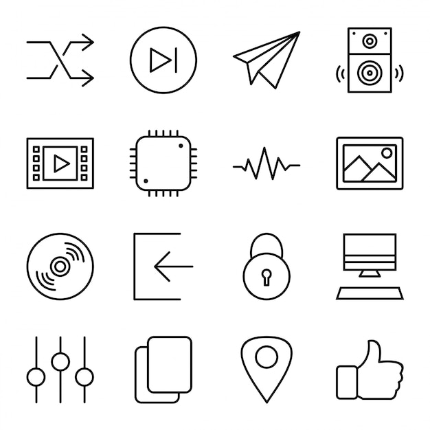 Icon set of multimedia Premium Vector