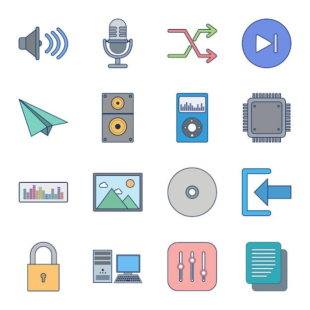 Icon set of multimedia Premium Vector