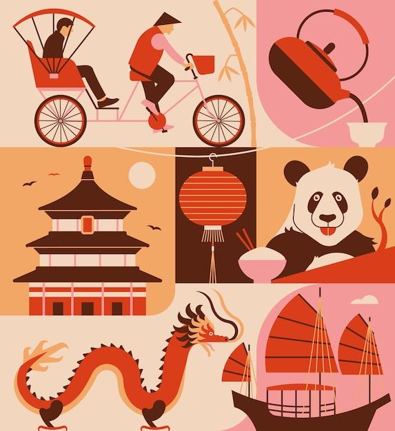Набор иконок китая. рикша, китайский чай, храм, фонарь, панда, драдон, лодка. Premium векторы