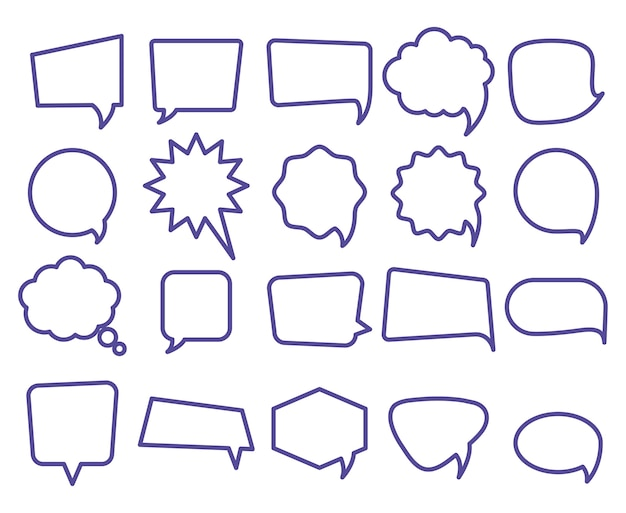 Icon Set Of Different Types Of Speech Bubbles Over White Background