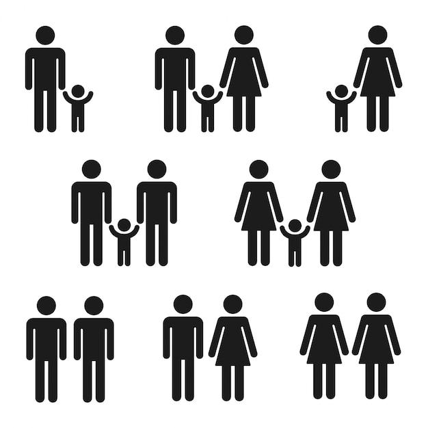 가족, 간단한 막대기 그림 기호 아이콘 세트. 아이들과 함께하는 전통적이고 동성애 커플. 프리미엄 벡터