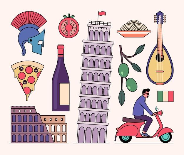 イタリアのアイコンセット、白い背景。騎士のヘルメット、トマト、ワインのボトル、コロシアム、ピサの斜塔、パスタ、マンドリン、オリーブの木、スクーター、旗。 Premiumベクター