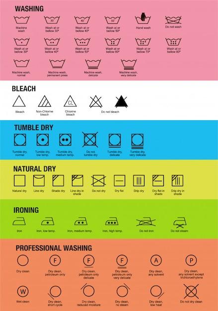 Icon Set Of Laundry Symbols Illustration Print Label Cloth Vector
