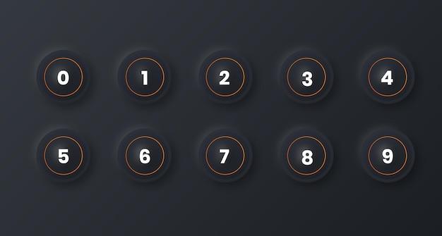 ニューモルフィズム効果のある1から10までの番号の箇条書きのアイコンセット Premiumベクター