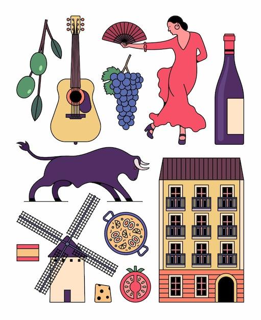 Набор иконок испании. оливка, гитара, виноград, танец фламенко, вино, бык, дом, паэлья, помидор, сыр, ветряная мельница, флаг. Premium векторы