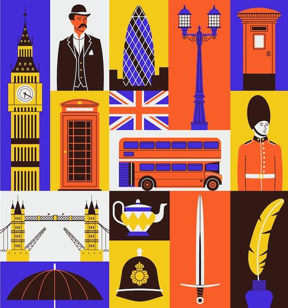 Набор иконок соединенного королевства. биг бен, джентльмен, телефонная будка, флаг, красный автобус, караул, лондонский мост, чай, меч, тушь. Premium векторы
