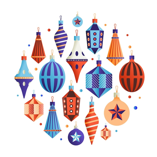 Набор иконок xmas, коллекция рождественских украшений, белый фон. Premium векторы