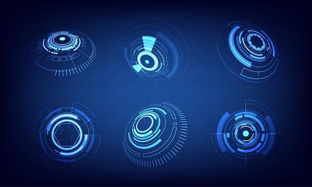 Icon set technology circle design Premium Vector