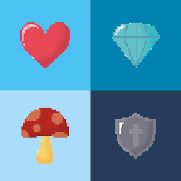 Icon set of video game concept Premium Vector