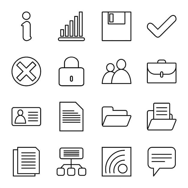 Icon set of websites Premium Vector