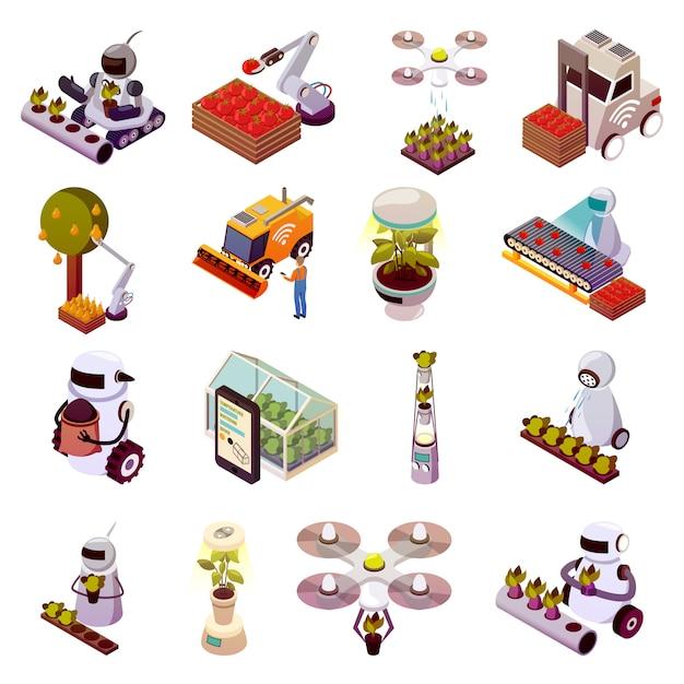 Сельскохозяйственные роботы icon set Бесплатные векторы