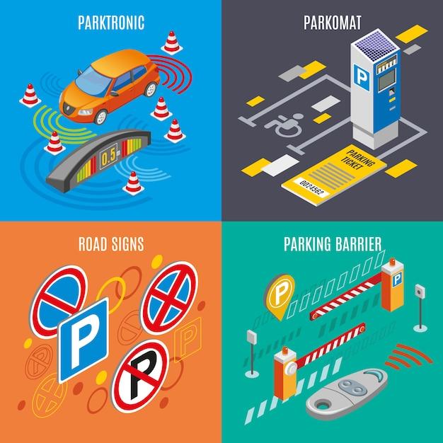 Изометрические парковка icon set Бесплатные векторы