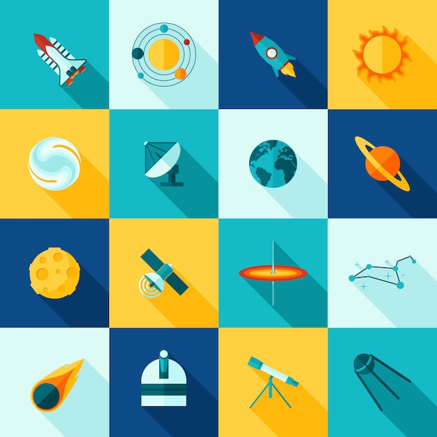 Космическая вселенная длинные тени icon set Бесплатные векторы