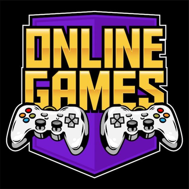 ゲーマーのためのアーケードビデオオンラインゲームをプレイし、ゲームを制御するためのゲームパッドのアイコンスポーツロゴ。 Premiumベクター