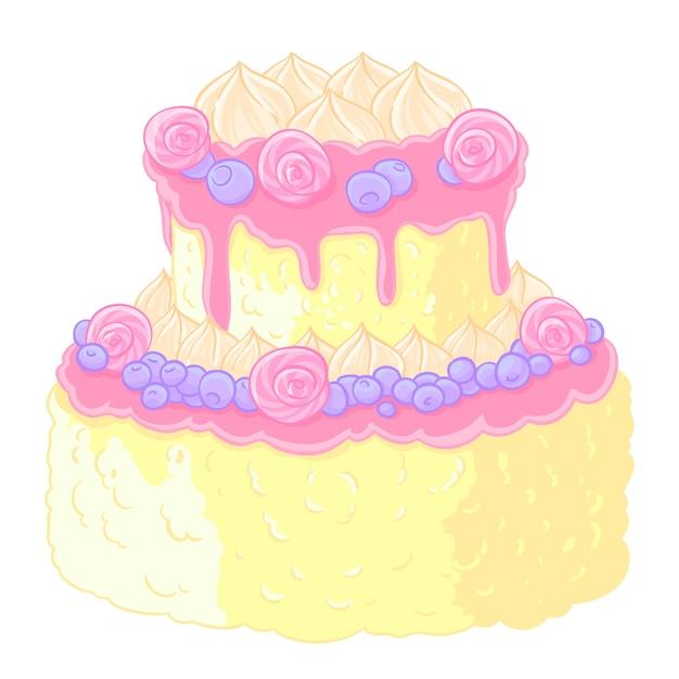 Icon two-level delicious wedding cake in cartoon style. Lemon ...